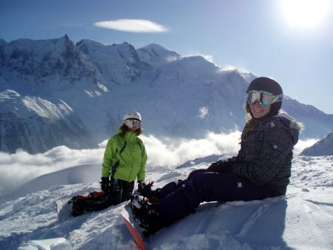 We have snowboard lessons with our instructor facing Mont Blanc