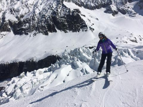 We are skiing off piste in Les Grands Montets next to Argentiere glacier in Chamonix Valley.