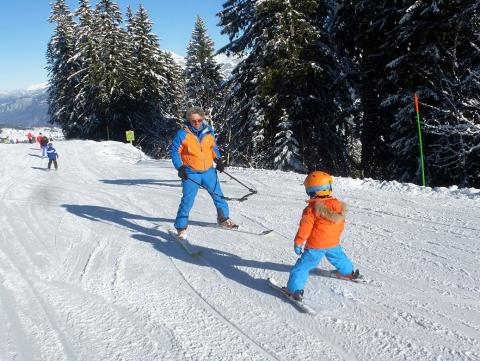 Today, I have a ski lessons with a beginner child in Megeve.